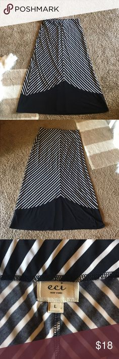 "Black and white maxi skirt Gorgeous maxi skirt! Black and white striped. Size large. Length is appx 38.5."" In perfect condition! ECI Skirts Maxi"