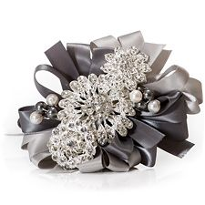 Jeweled Brooch Corsage for Prom, Homecoming, Weddings -- With Gray Ribbon Brooch Corsage, Bridal Brooch Bouquet, Wrist Corsage, Brooch Bouquets, Brooches, Prom Flowers, Bridal Flowers, Black Corsage, Bling Bouquet