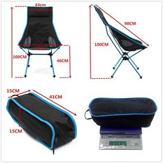 KING DO WAY Ultralight Portable Folding Outdoor Camping Chair For Hiking  Picnic Fishing With Carry Storage