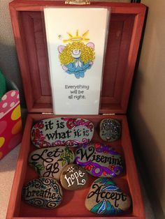 Beautiful & creative, Coping Skills Tool box. Stones containing character strengths, action/coping skill. Maybe put that on the back.