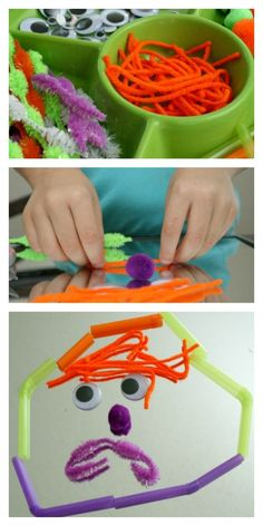 Gather loose parts and invite kids to make their own monster art faces. Creative fun for Halloween, a monster theme, or anytime!
