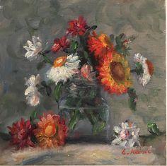 Enoch Hlisic - Original Australian Oil Painting - Orange Flowers Copyright © 2018 Enoch Hlisic