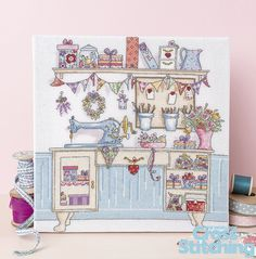 A stitcher's sanctuary… Create your dream sewing room! Who wouldn't love their own creative space like this?! Have great fun stitching this pretty scene packed with crafting inspiration – find the chart from #HelzCuppleditch in the new issue 220 of The World of Cross Stitching magazine