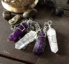 Amethyst or Quartz Crystal pendant Silver necklace, Wire wrapped Crystal, Wire Wrap Stone necklace, For her/ good idea
