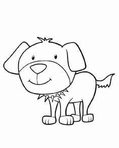 Cartoon Coloring Pages Puppy With Collar