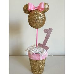 Pink and Gold Minnie Mouse Centerpiece. by LoveLBP on Etsy