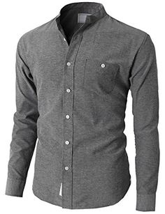 H2H Mens Active Slim Fit Oxford Mandarin Collar Button-do...