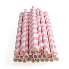 25pcs Colourful Striped Paper Drinking Straws for Wedding Birthday Party Decoration