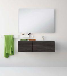 UNIBAÑO-Pack109-Baño Mueble de baño con encimera de 100cm y mueble portalavabo 2 cajones.Espejo de baño liso y barra para accesorios de baño. PVP Recomendado 1075€