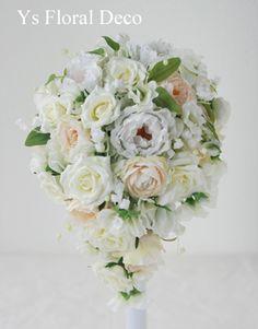 スズランを入れたティアドロップブーケ  アーティフィシャルフラワー  ys floral deco  @東京大神宮