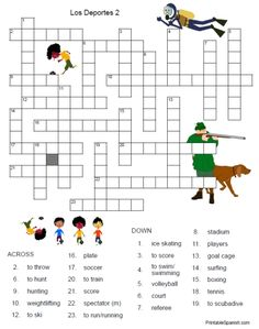 Printable Spanish FREEBIE of the Day: Los Deportes crossword puzzle #2 from PrintableSpanish.com