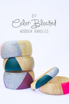 color blocked wooden bangles diy