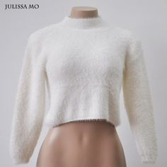 Julissa Mo Women Turtleneck Long Sleeve Sweater 2016 New Autumn Kintted Pullover Tops Sexy Short Jumper Casual Pull Femme