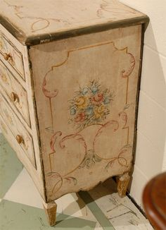 Pair of Italian Painted Commodes with Floral Decoration image 4