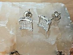 Ct Diamond Fully Iced Screw Back Unisex Stud Earrings White Gold Finish Colored Diamonds, Cufflinks, White Gold, Stud Earrings, Bling, Unisex, Detail, Accessories, Ebay