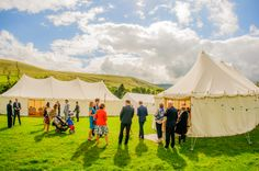 Ceremony and wedding reception canvas marquees in a superb field setting in Lancashire