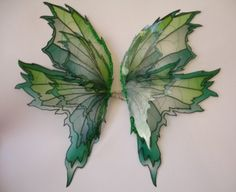 Green fairy wings inspiration - not sure how these are made but I just like the Art Nouveau/stained glass feel, the shape and the veins and different colours, and the idea of having smaller wing pairs inside larger ones.