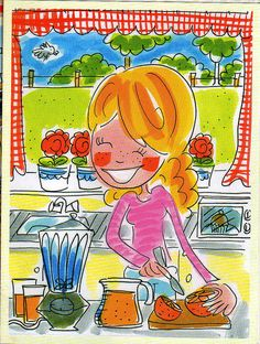 Kitchen by Blond Amsterdam Happy Cartoon, Cartoon Pics, Blond Amsterdam, Leiden, Valentines Watercolor, Tarjetas Diy, Love Illustration, Digital Illustration, Watercolor Fashion