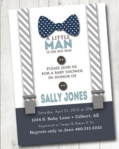 Boy Baby shower Invitation with bow tie and suspenders burlap shabby rustic…