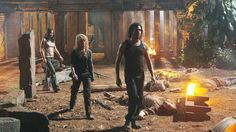 """6.06 """"Sundown"""" – Publicity still. After the attack on the Temple by the Smoke Monster, Sayid, Claire, and Kate surveyed the damage in slow motion, with Claire's voice singing """"Catch a Falling Star"""" with a nice bit of reverb. In the context of what we'd just seen, it was supremely creepy!"""