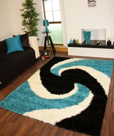 Modern Shaggy Rugs Teal Blue Black Thick Easy Clean Turquoise Aqua Small Large | eBay