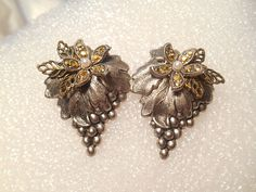 Highly Detailed Bunch of Grapes Vintage Pierced Earrings With