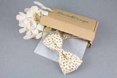 Floral Bow Tie Ivory Bow Tie Off White Bow Tie for Men Pale