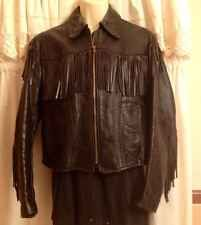 Vintage Ladies' Black Leather Fringe Motorcycle Biker Jacket Free People S Moto