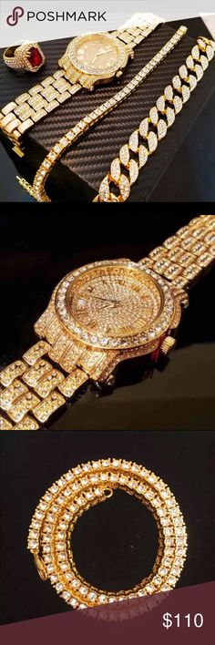 "Men's Gold Watch&Cuban Chain&One Row Chain&Ring New 100% Authentic  14K Gold Plated IcedOut Lab Diamond Watch & 14K Gold Plated IcedOut Lab Diamond 16"" Miami Cuban Chain Necklace &14K Gold Plated IcedOut Lab Diamond 18"" One Row Chain Necklace & 14K Gold Plated IcedOut Lab Diamond Red Ruby Ring (Ring is Available in All Sizes) TECHNOPAVE Accessories Watches"