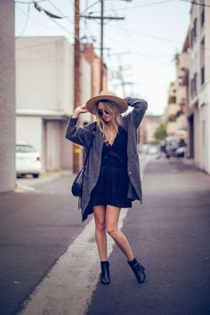 justthedesign:  Rebecca Laurey is showing us how to dress this summer with a navy dress with a plunging neckline paired with a grey cardi and hat! Shops: Not Specified