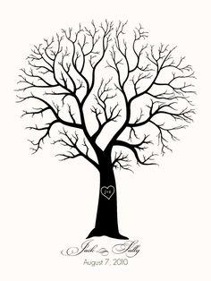 Fingerprint Guestbook Tree - Wedding or Event - Jasmine Design Wedding & Event Stationery Image Clipart, Art Clipart, Illustrator Design, Doodle Drawing, Thumbprint Tree, Tree Stencil, Stencil Painting, Fingerprint Tree, Fingerprint Wedding