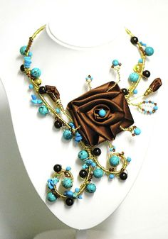 fineart america brown & turquoise necklace