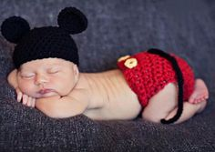 Knitted Mickey Mouse Outfit by ClassyNChicBoutique on Etsy https://www.etsy.com/listing/225128484/knitted-mickey-mouse-outfit