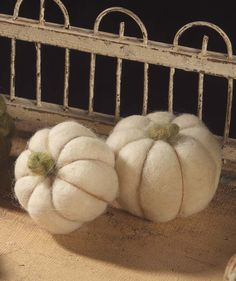 White Wool Pumpkins from The Holiday Barn