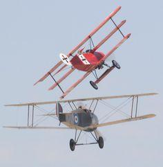 Sopwith Camel Chasing Fokker Triplane