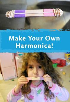 Homemade harmonica - simple craft that will delight your kids! Craft Activities For Kids, Projects For Kids, Preschool Activities, Diy For Kids, Crafts For Kids, Toddler Crafts, Craft Ideas, Indoor Activities, Summer Activities
