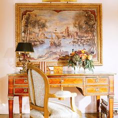 """""""Formal Living Room"""" --- I would have a beautiful writing desk just like this in my BHG Dream Home's formal living room. It would be a place for me to show off little mementos like family pictures and figurines, and even flowers from my garden, too."""