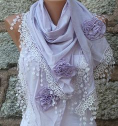 Lilac Scarf  Pure Cotton  Headband Necklace Cowl by fatwoman, $23.00