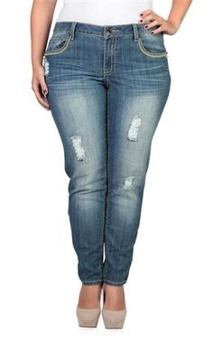 Plus Size Dollhouse Skinny Jean with Stud Effects and Destruction
