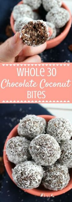 Chocolate Coconut Bites Looking for an easy, healthy snack? Try this Whole 30 Chocolate Coconut Bites Recipe! Packed with nutritious nuts + seeds, low in sugar + high in protein! They're also gluten-free, dairy free, soy free and free of refined sugar! Whole 30 Dessert, Whole 30 Snacks, Whole 30 Diet, Paleo Whole 30, Whole 30 Meals, Whole 30 Drinks, Whole Foods, Coconut Bites Recipe, Recetas Whole30
