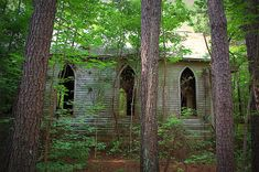 Abandoned church in North Carolina woods.