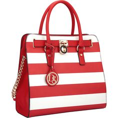 bac2fc59ad1a Dasein Large Tote with Chain Shoulder Strap - Red White - Satchels ( 42)