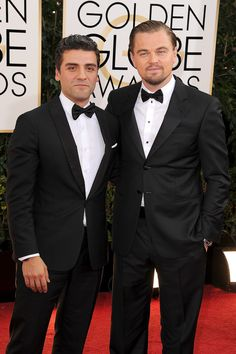 Oscar Isaac and Leonardo DiCaprio at the Golden Globes.