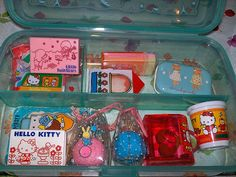 Sanrio Erasers from the 70s.  I used to collect ALL this stuff...erasers, stickers, paper, pencils.....