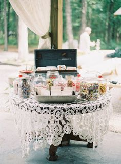 #candy #lace - General Store Candy Buffet Photography by virgilbunao.com  Read more - http://www.stylemepretty.com/2013/04/08/south-carolina-wedding-from-virgil-bunao/