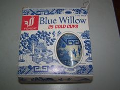 OLD RARE BLUE WILLOW QTY 25 COLD CUPS PAPER / WAX 9 OZ SIZE FONDA
