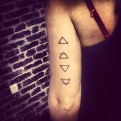 My new tattoo... 4 elements... Fire, air, water And earth.