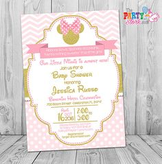 Minnie Mouse Baby Shower Invitation | Printable Baby Shower Invite | Pink and Gold Glitter | Girl Baby Shower Idea | Decorations Coming Soon