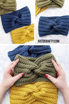 Crochet Twisted Ear Warmer Headband - Just Be Crafty Free Crochet Patterns - Crochet Twisted Ear Warmer Headband Crochet Twisted Ear Warmer Headband Crochet Diy, Crochet Headband Free, Crochet Twist, Crochet Beanie, Double Crochet, Crochet Hats, Knitted Headband, Loom Knitting, Free Knitting