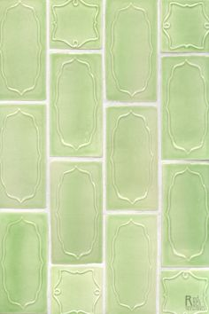 Kiwi Crackle Glaze looks delicious on these 3x6 Eclair and 3x3 Beignet tile by Red Rock Tileworks